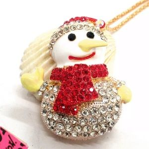 VINTAGE BETSEY JOHNSON HOLIDAY SNOW MAN NECKLACE